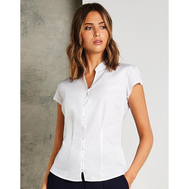 Naiste triiksärk Tailored Fit Mandarin Collar SSL